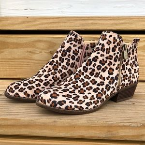 Leopard Ankle Booties with Zipper on side